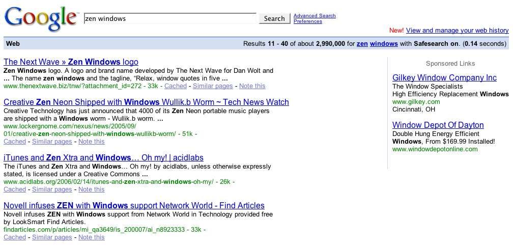 "Screen shot of search results for ""Zen Windows"" with The Next Wave being first"