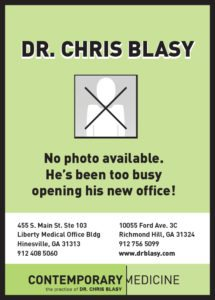 No photo, no problem. Dr. Chris Blasy opening office ad.