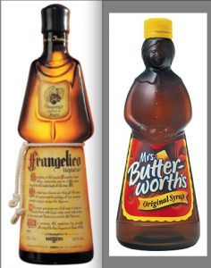 Compare Frangelico vs Mrs Butterworths bottle - photos